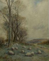 David Thomas Robertson (British 1879-1952): Sheep Grazing in a Yorkshire Landscape