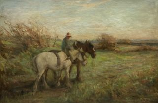 R W Johnson (19th/20th century): 'Over by Elwick' near Hartlepool - Working Horses on the Cliff Top