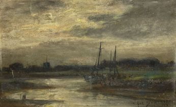 Owen Bowen (Staithes Group 1873-1967): Fishing Boats moored in a Creek at Eventide
