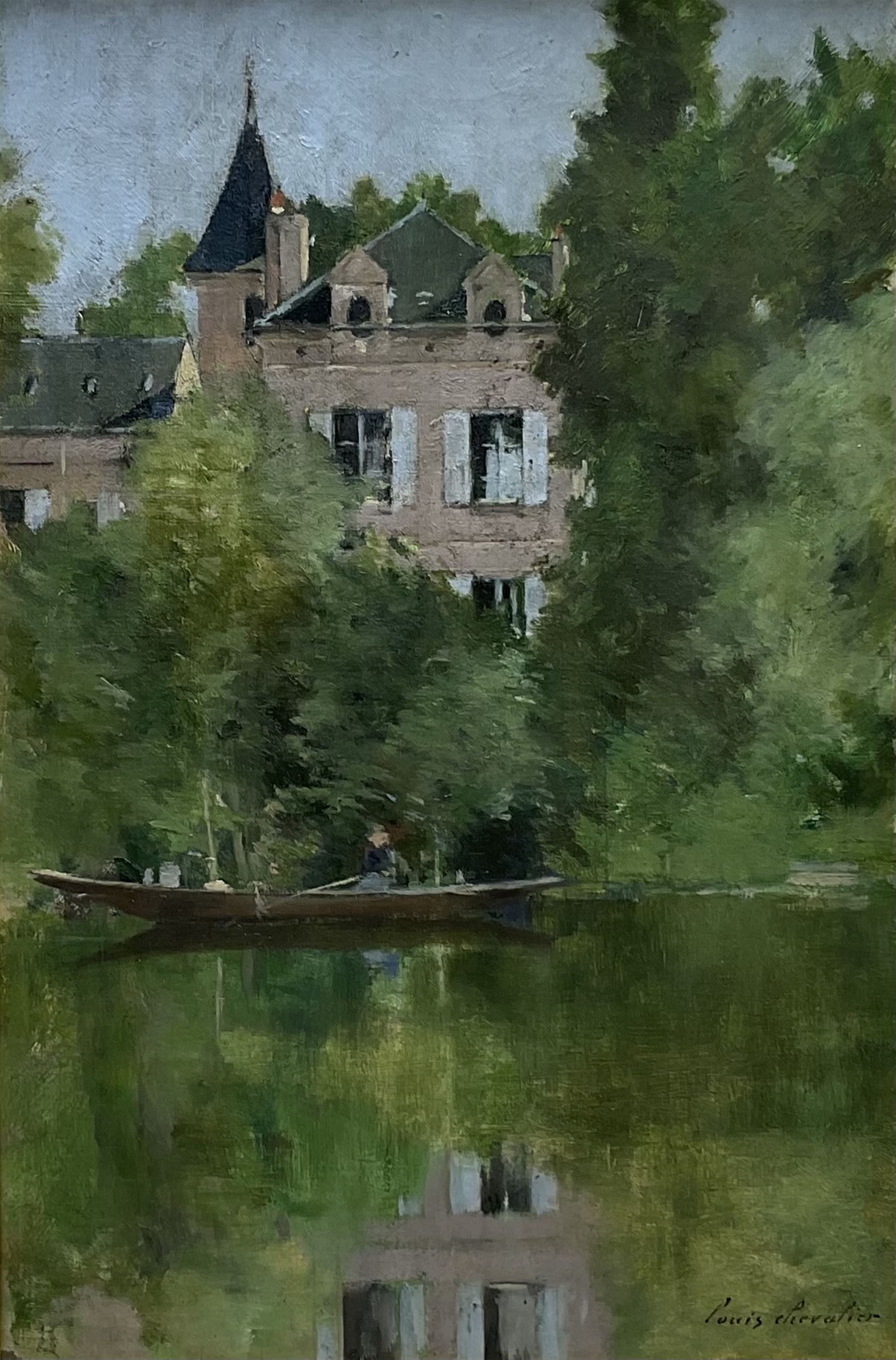 Louis Auguste Chevalier (French c.1865-?): Chateau by the Lake