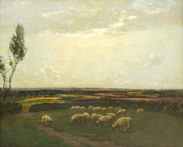 Paul Paul (Staithes Group 1865-1937): Sheep Grazing in an Extensive Landscape