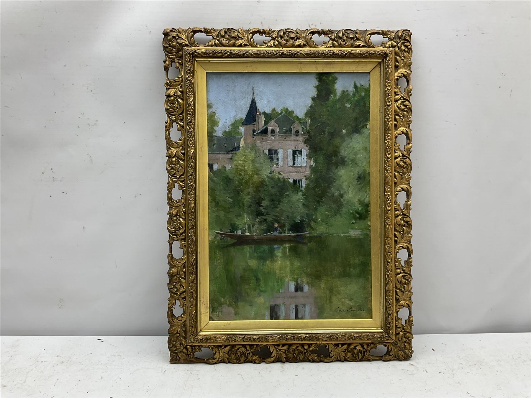 Louis Auguste Chevalier (French c.1865-?): Chateau by the Lake - Image 2 of 4