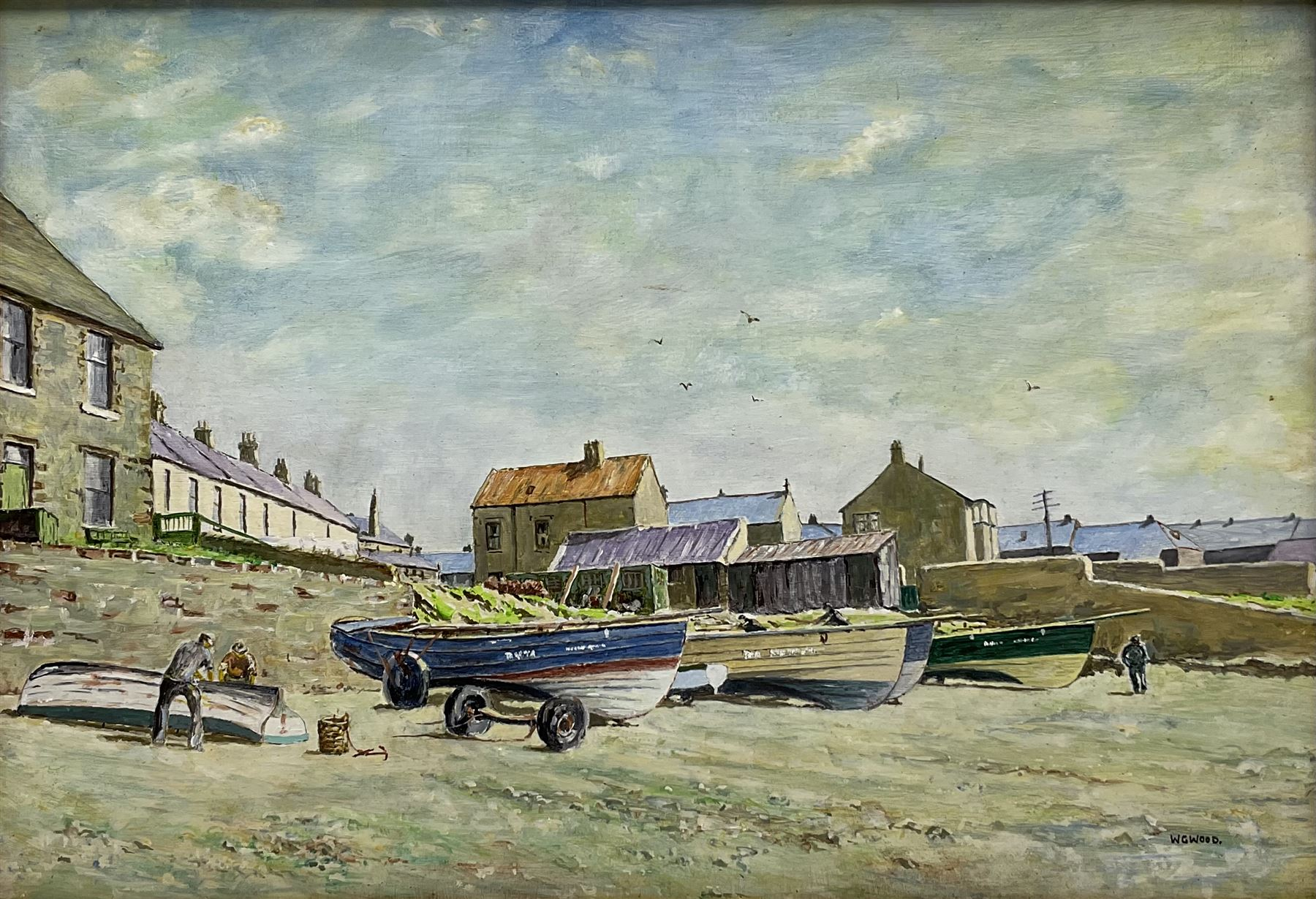 W G Wood (20th century): Cobles on a North East Beach