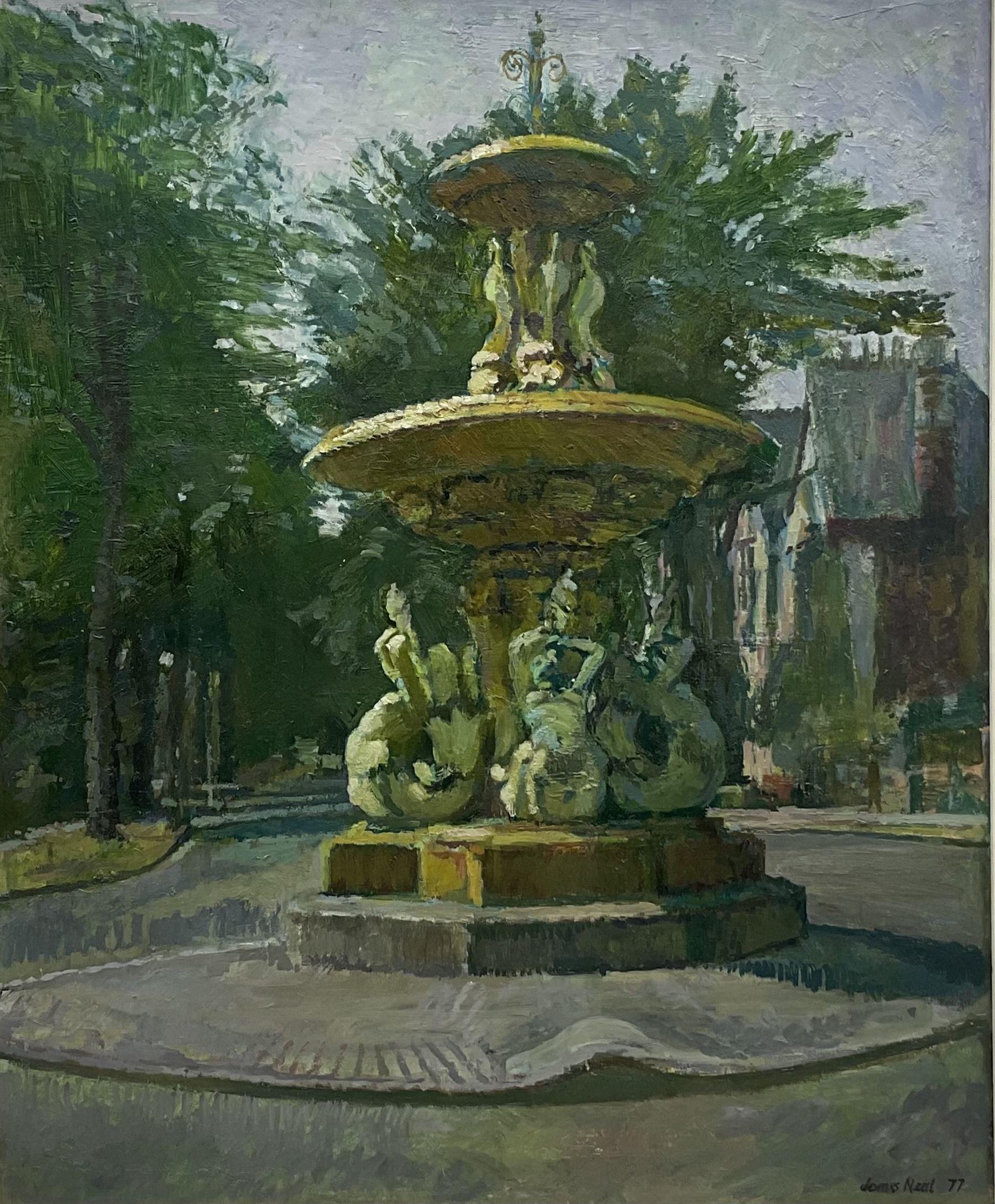 James Neal (Northern British 1918-2011): 'Fountain in Marlborough Avenue Hull'