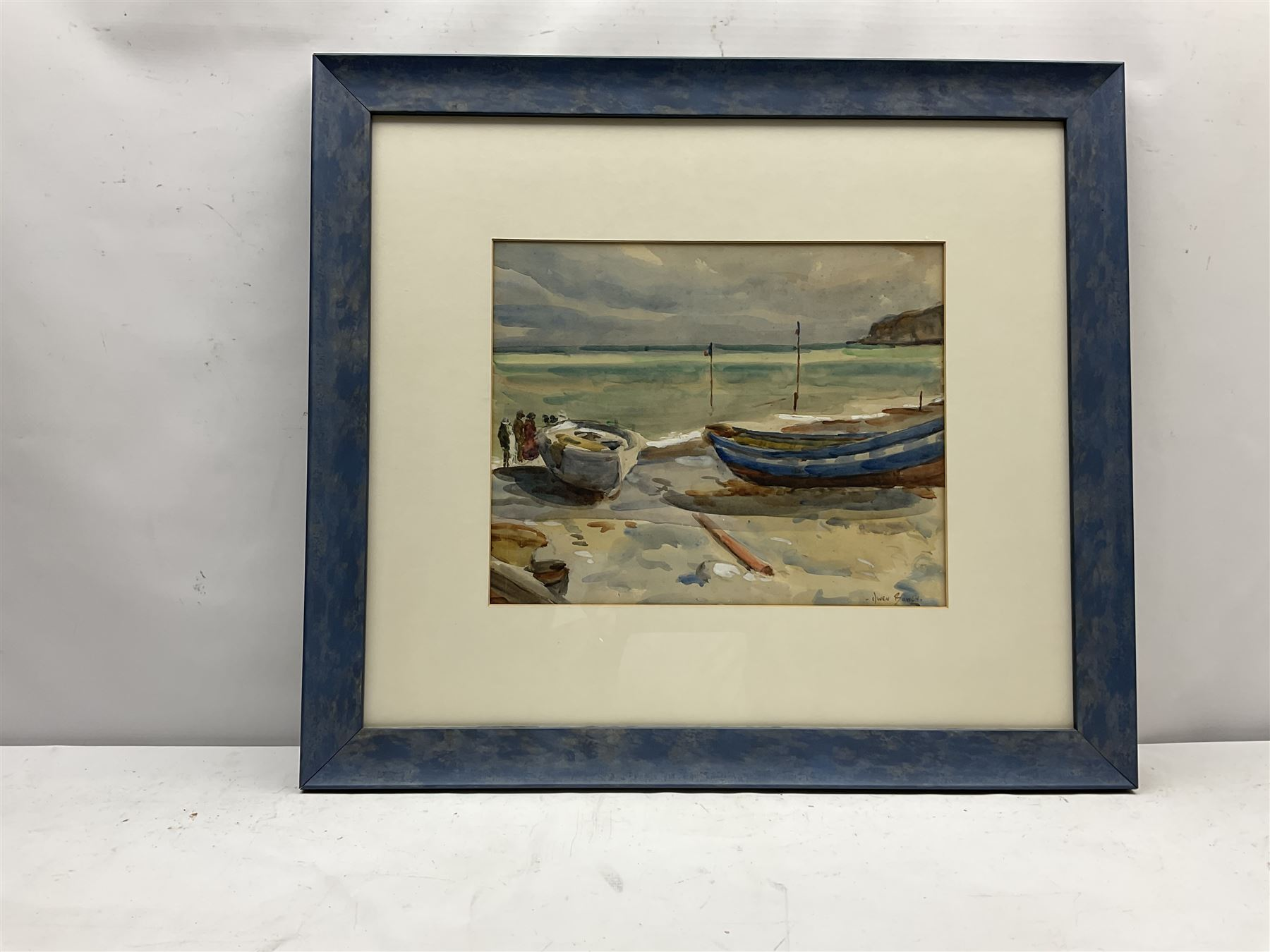 Owen Bowen (Staithes Group 1873-1967): Cobles on The Dock Robin Hoods Bay - Image 2 of 4