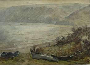 Frederic William Jackson (Staithes Group 1859-1918): Cobles on the Bank at Runswick Bay