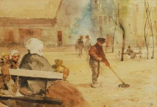 Attrib. Charles Hodge Mackie (Scottish Staithes Group 1862-1920): The Street Sweeper
