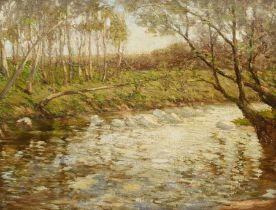 Paul Paul (Staithes Group 1865-1937): Wooded River Landscape