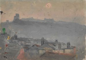 Frank Henry Mason (Staithes Group 1875-1965): 'Morning' overlooking the Old Town Rooftops Scarboroug