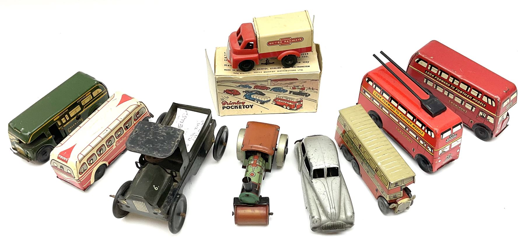 Wells Brimtoy/Pocketoy - eight tin-plate/clockwork or friction-drive vehicles comprising London Trol - Image 2 of 8