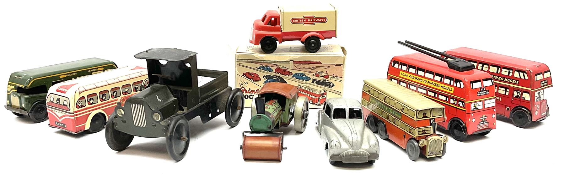 Wells Brimtoy/Pocketoy - eight tin-plate/clockwork or friction-drive vehicles comprising London Trol