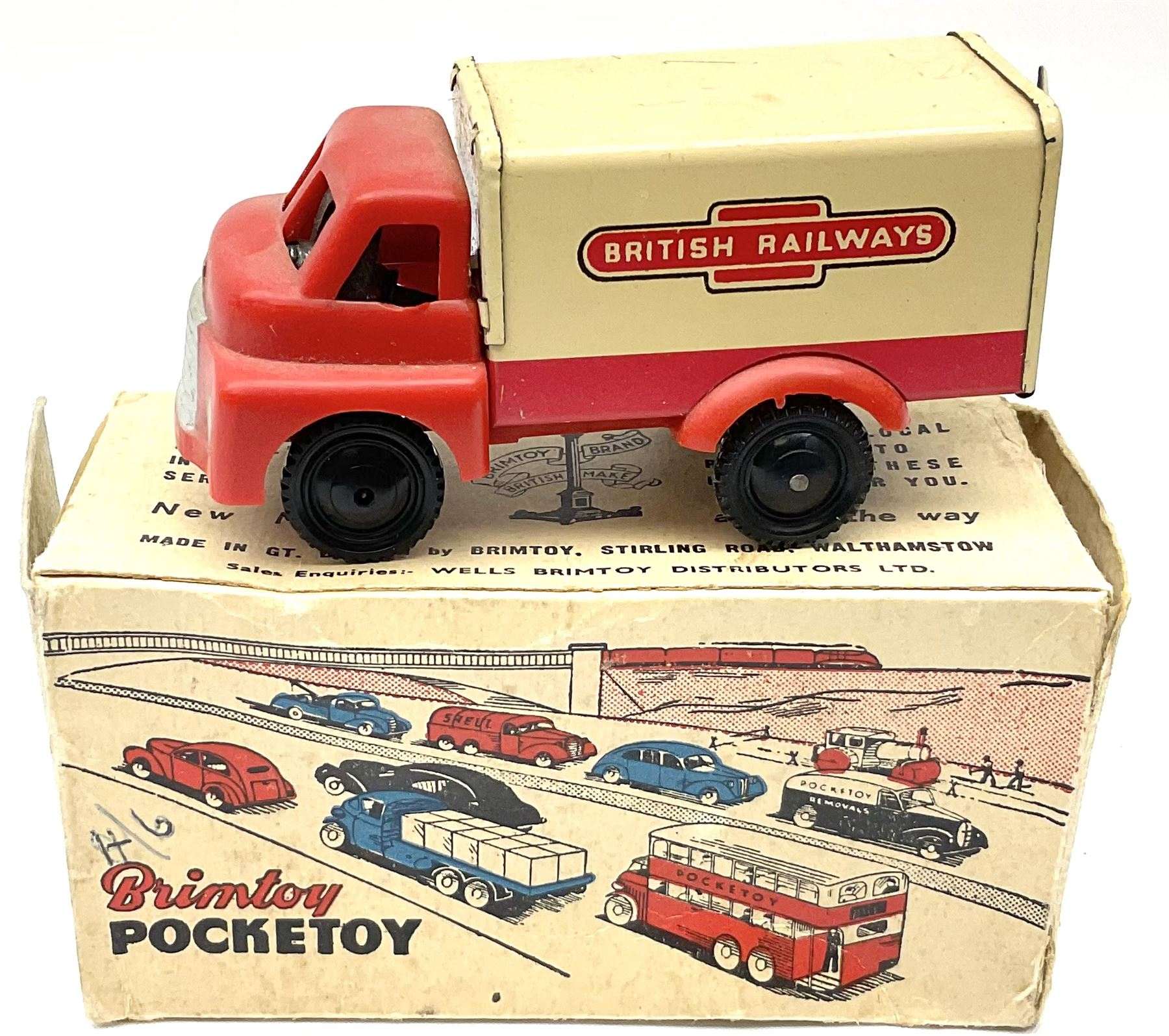 Wells Brimtoy/Pocketoy - eight tin-plate/clockwork or friction-drive vehicles comprising London Trol - Image 3 of 8