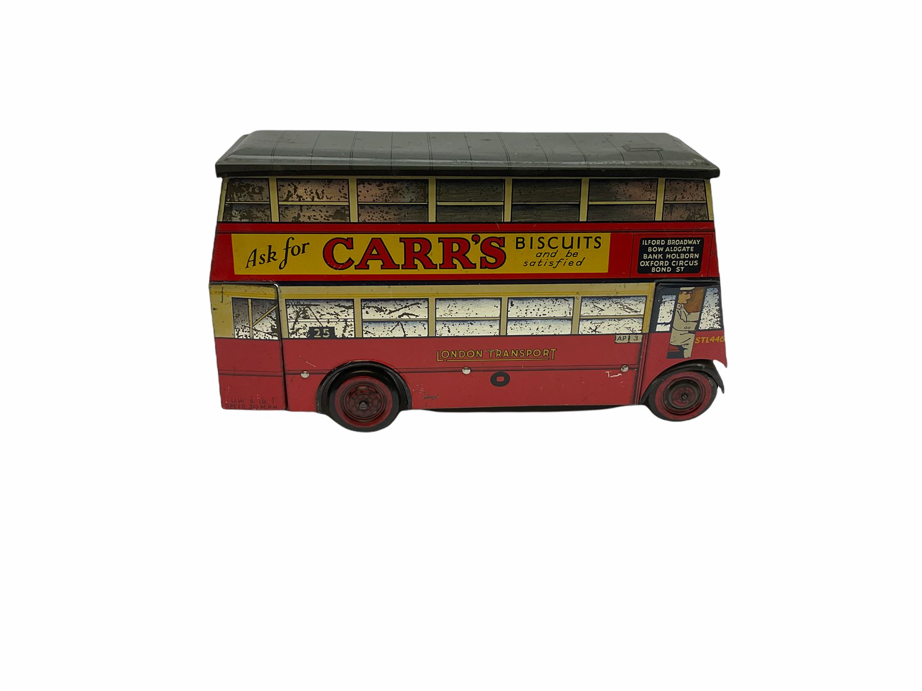Chad Valley Carr�s Table Water Biscuits London Transport STL446 double decker bus biscuit tin - Image 4 of 6