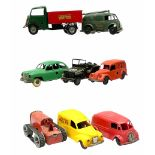 Eight Tri-ang Minic tin-plate/plastic clockwork vehicles comprising Tipper Lorry