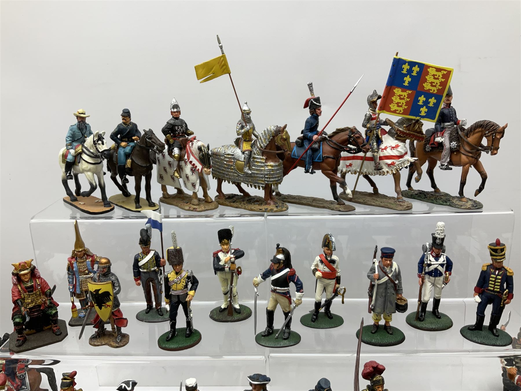 Ninety Del Prado cast metal mounted figures with two modern binders of periodicals entitled 'Cavalry - Image 8 of 9