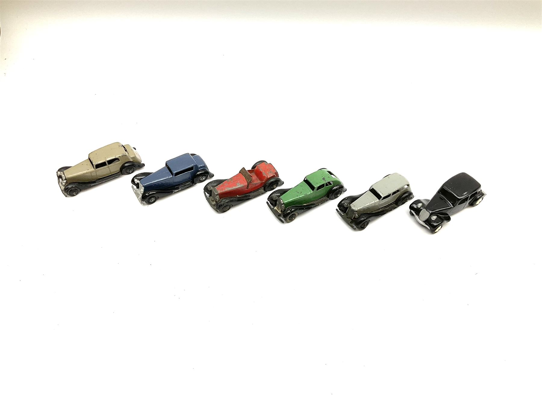 Dinky - five unboxed and playworn early post-war die-cast cars including British Salmson No.36e; and - Image 2 of 2