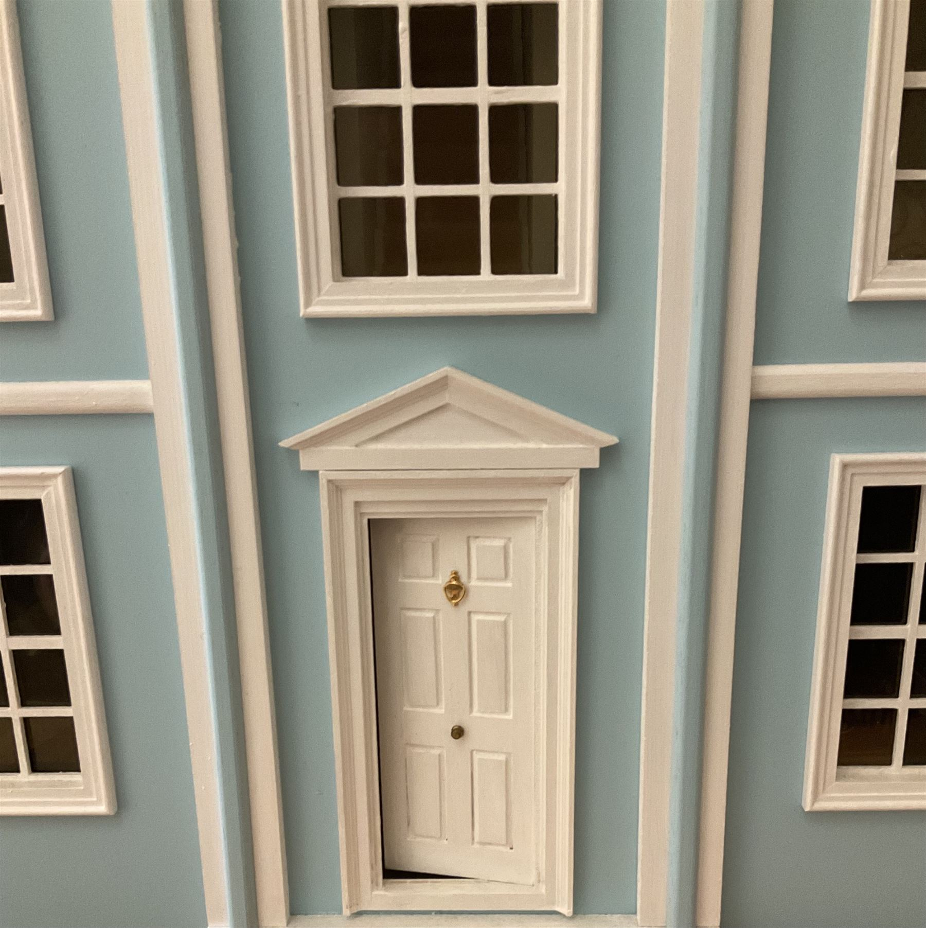 Georgian style wooden double fronted three-storey dolls house with pale blue stucco finish under a f - Image 2 of 12