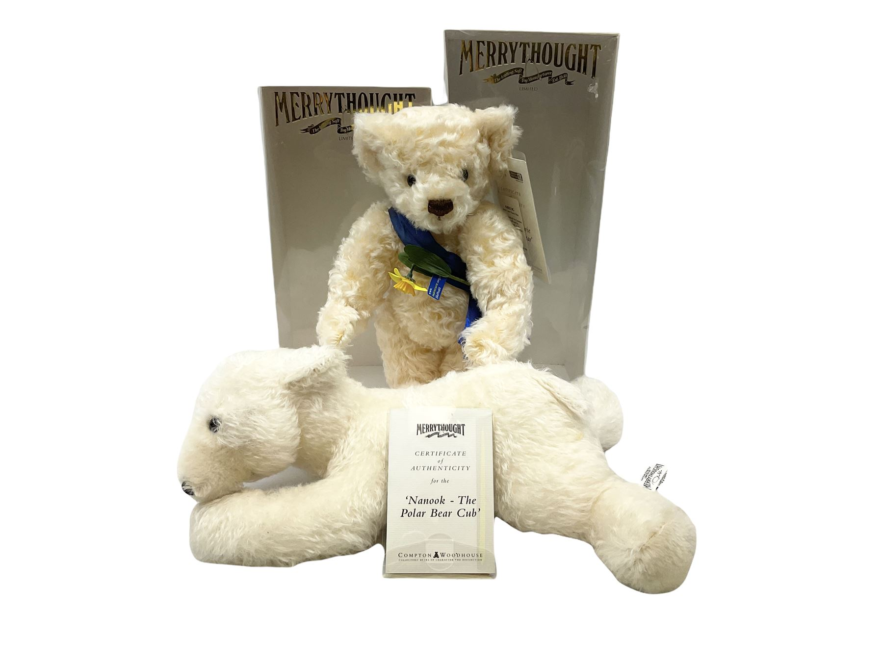 Merrythought - two modern limited edition bears comprising 'Nanook The Polar Bear Club' No.213/2450;