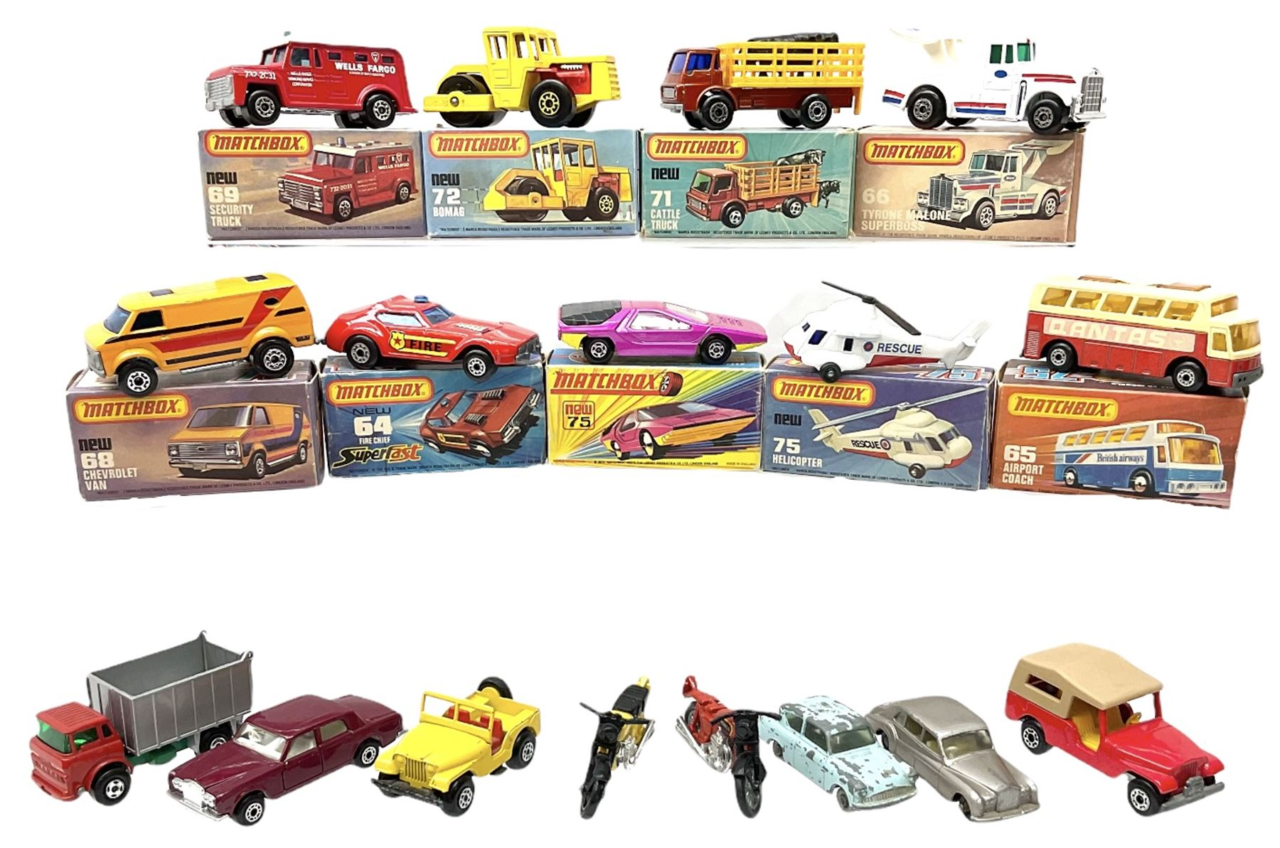 Matchbox/Superfast - nine '1-75' series models comprising 64d Fire Chief car