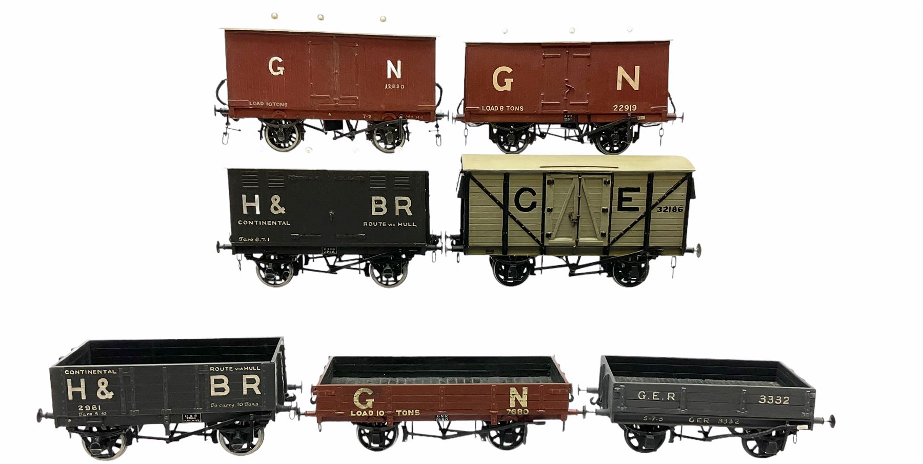 '0' gauge - two scratch-built Hull & Barnsley wagons including Continental covered wagon and open wa