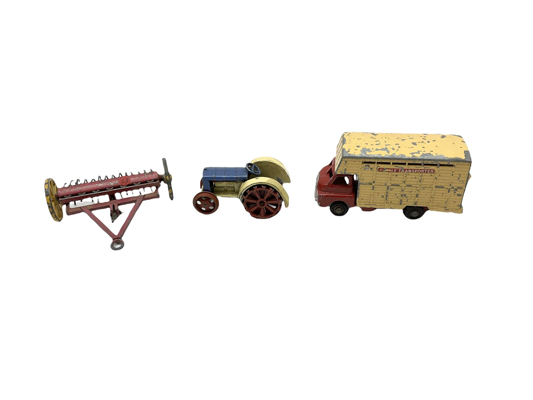 Dinky die-cast tractor; Dinky hay Rake; Dinky telephone box and another larger; Dinky petrol pump; t - Image 4 of 5