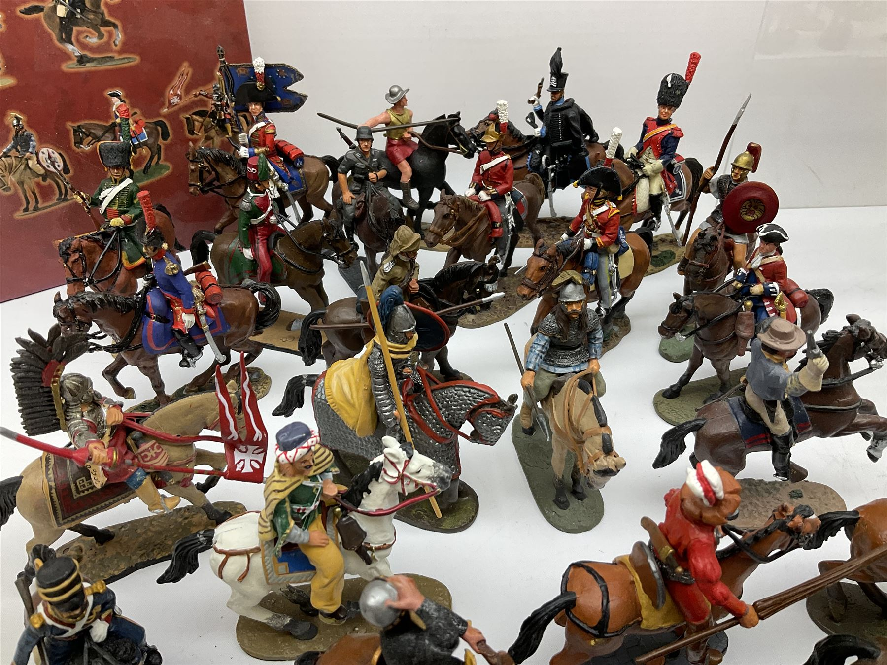 Ninety Del Prado cast metal mounted figures with two modern binders of periodicals entitled 'Cavalry - Image 3 of 9
