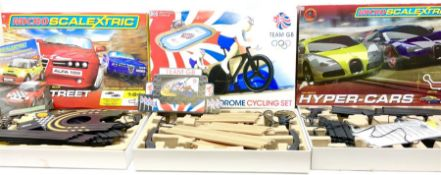 Scalextric - Velodrome Cycling Set; Hyper-Cars Micro Set; and Pro Street Speed Micro Set; all boxed