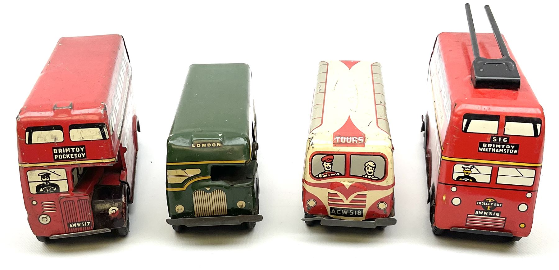 Wells Brimtoy/Pocketoy - eight tin-plate/clockwork or friction-drive vehicles comprising London Trol - Image 8 of 8
