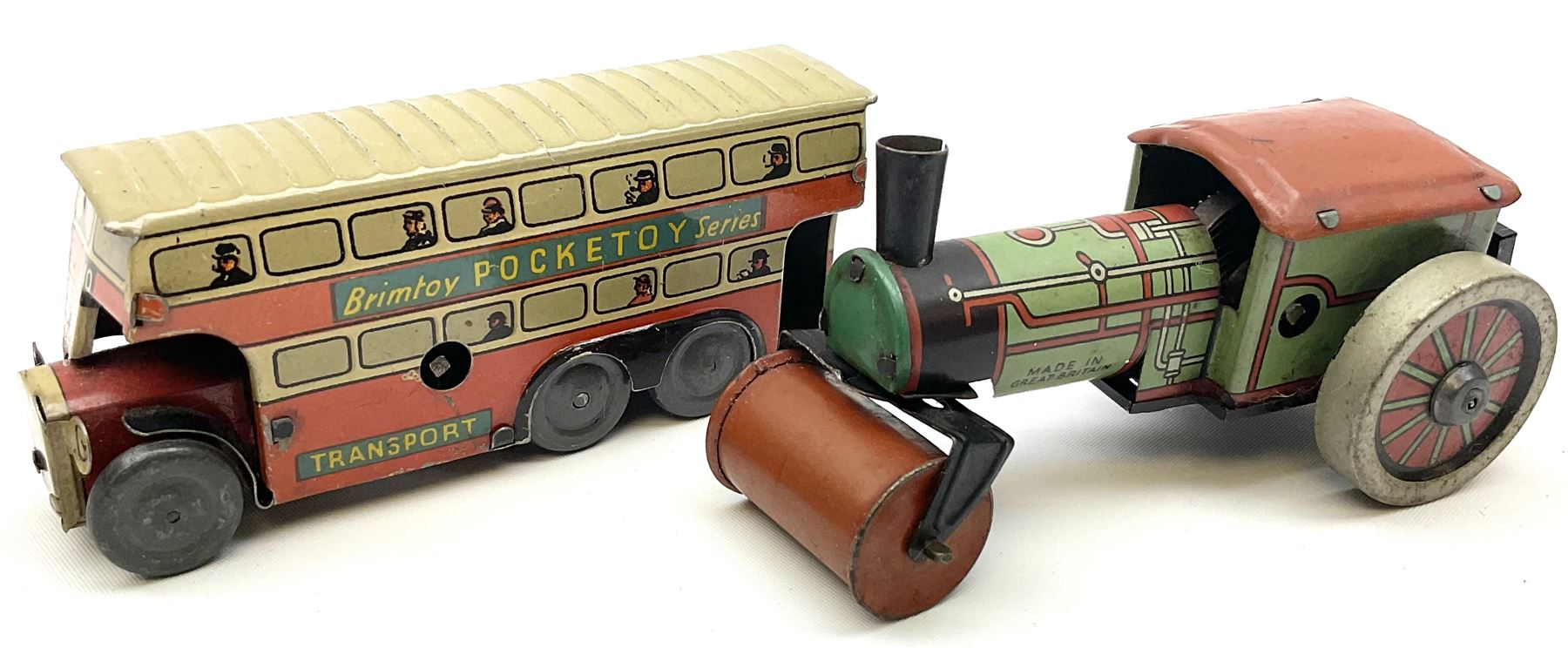 Wells Brimtoy/Pocketoy - eight tin-plate/clockwork or friction-drive vehicles comprising London Trol - Image 6 of 8