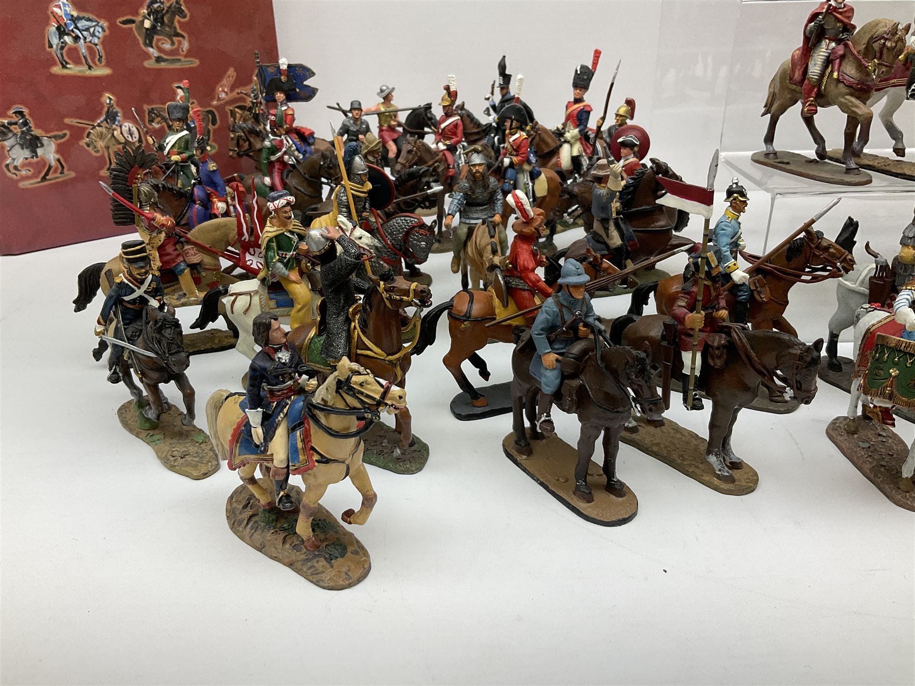 Ninety Del Prado cast metal mounted figures with two modern binders of periodicals entitled 'Cavalry - Image 4 of 9