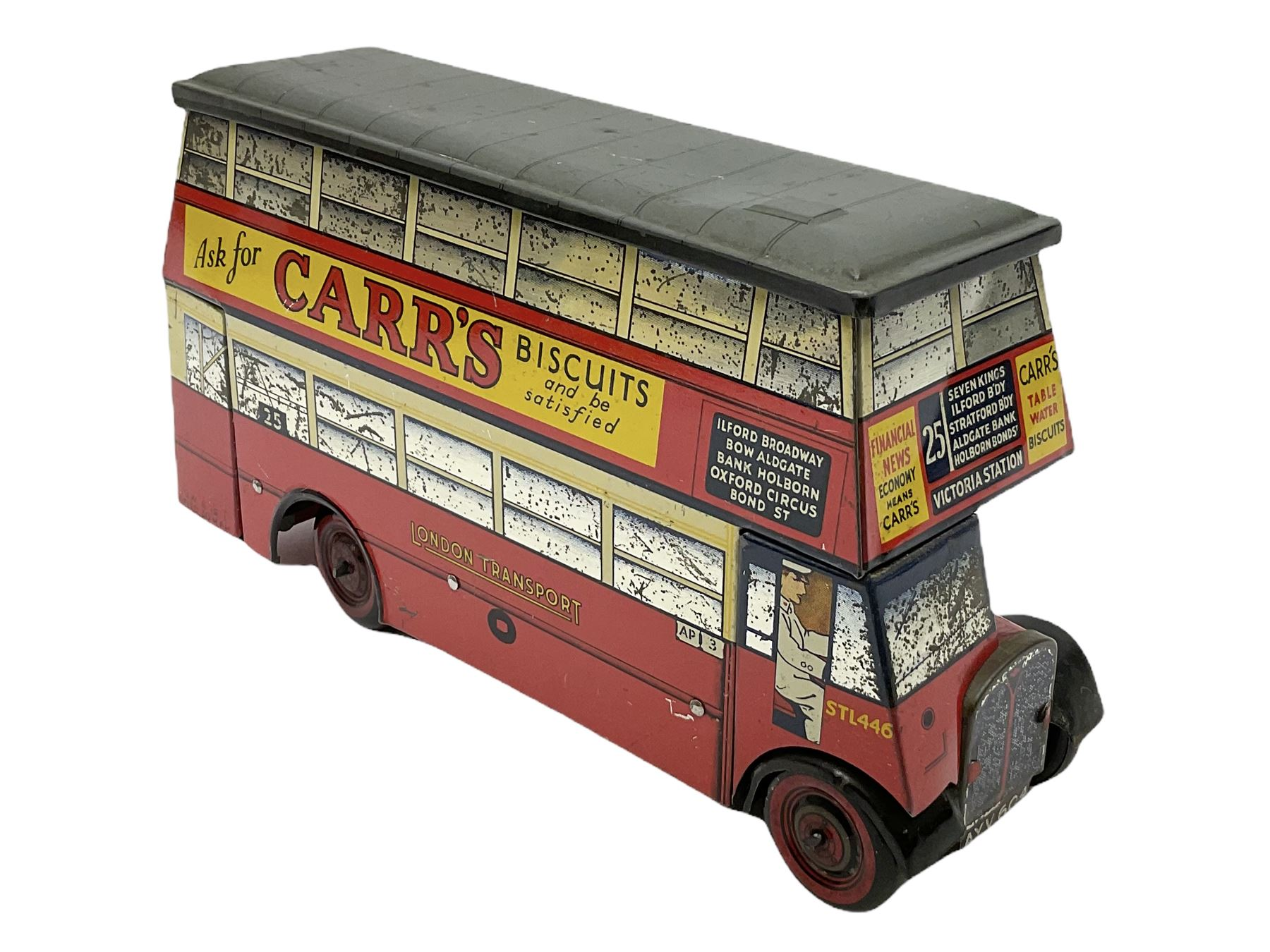 Chad Valley Carr�s Table Water Biscuits London Transport STL446 double decker bus biscuit tin