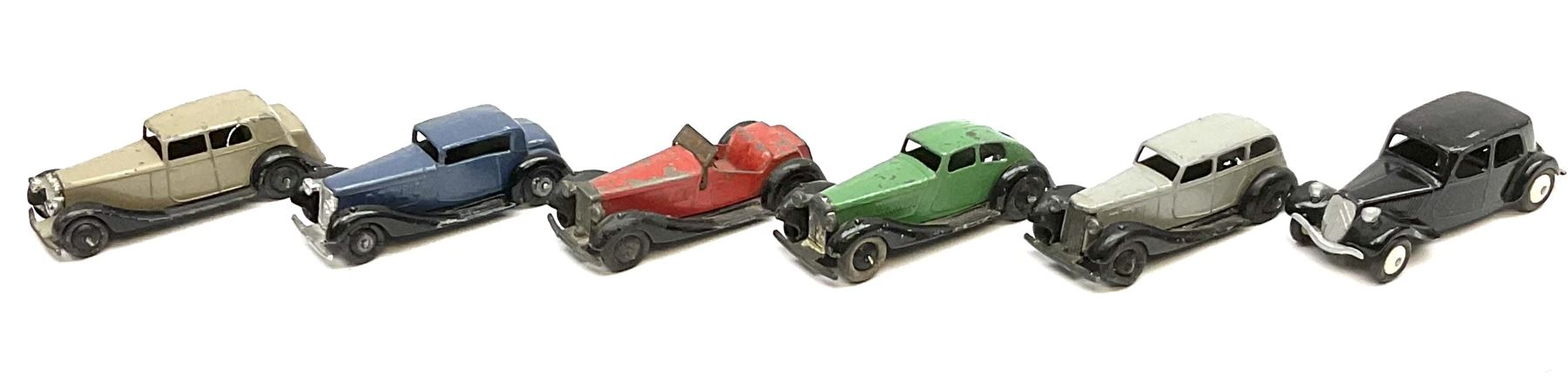 Dinky - five unboxed and playworn early post-war die-cast cars including British Salmson No.36e; and