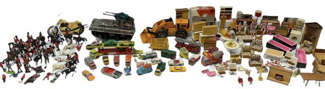 Miscellaneous toys - quantity of wooden and plastic dolls house furniture and accessories; quantity