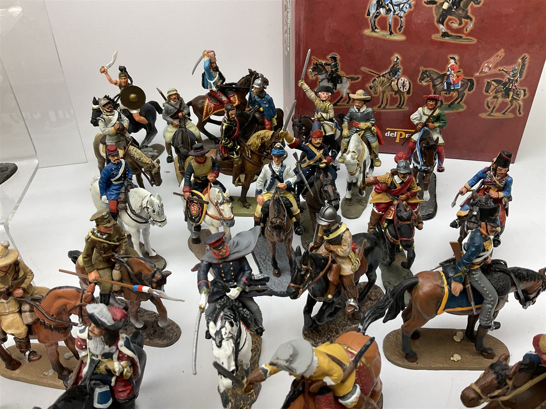 Ninety Del Prado cast metal mounted figures with two modern binders of periodicals entitled 'Cavalry - Image 6 of 9