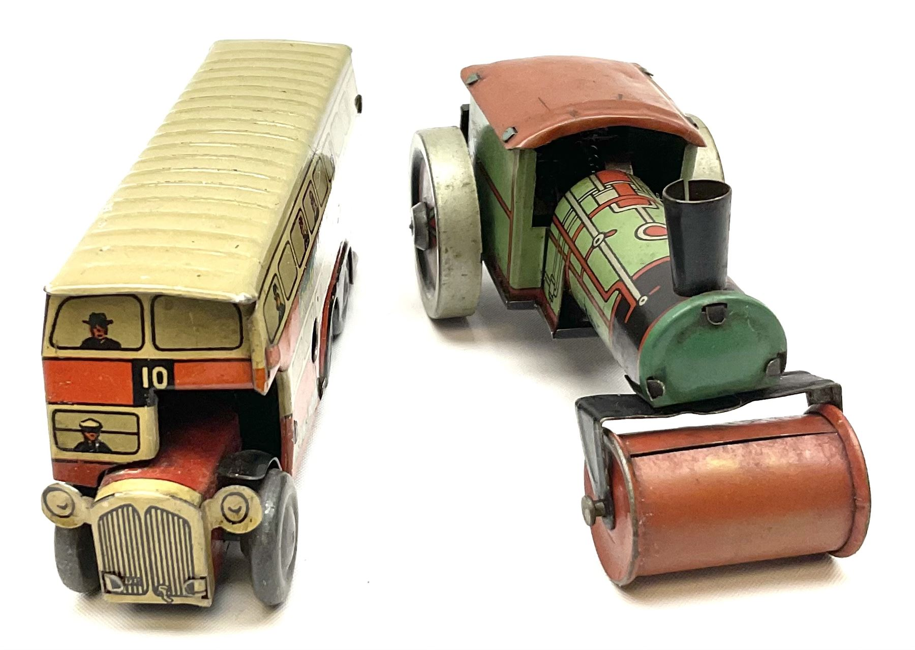Wells Brimtoy/Pocketoy - eight tin-plate/clockwork or friction-drive vehicles comprising London Trol - Image 7 of 8