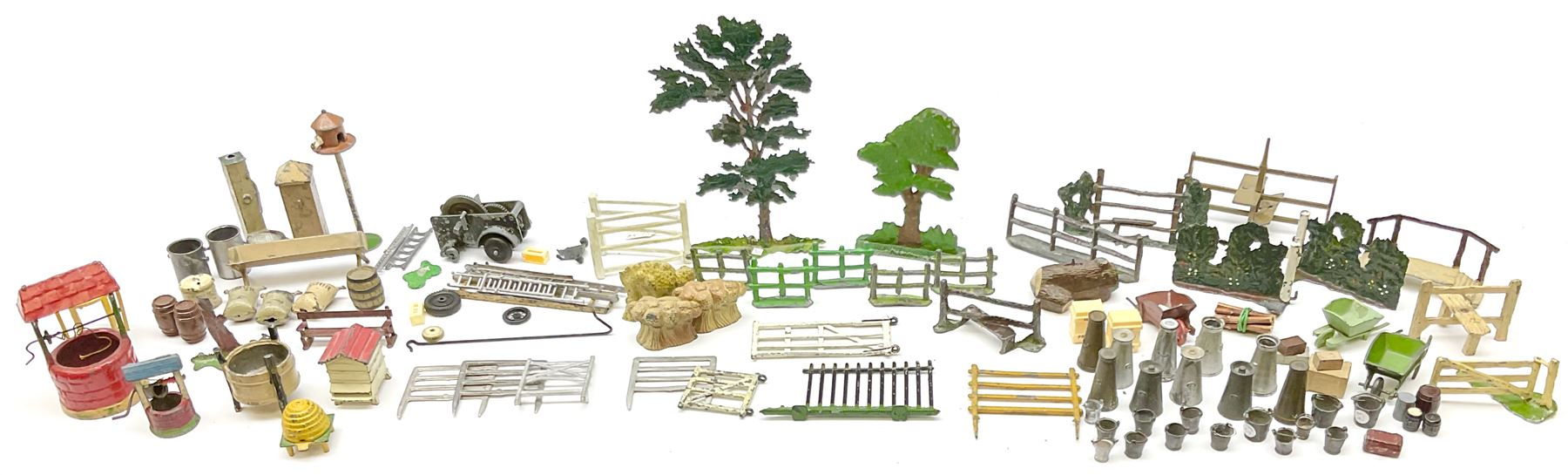 Various Makers - collection of lead/die-cast farm accessories including fences and gates