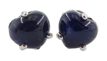 Pair of 18ct white gold heart shaped sapphire stud earrings