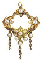 19th century 18ct gold pearl and diamond foliate pendant