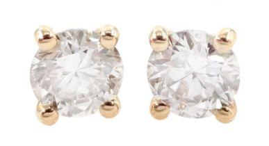 Pair of 18ct rose gold diamond stud earrings