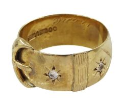 9ct gold cubic zirconia buckle ring with engraved initials