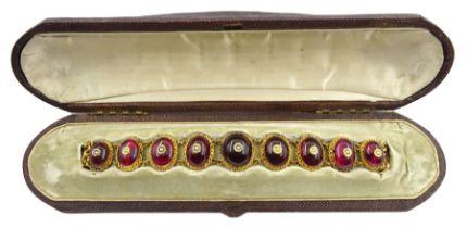 Victorian gold garnet and pearl bracelet