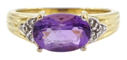 9ct gold oval amethyst and diamond ring