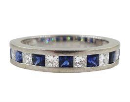 18ct white gold princess cut diamond and sapphire three quarter eternity ring
