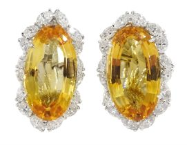 Pair of 18ct white gold large oval citrine and marquise shaped diamond cluster clip on earrings