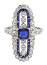 Platinum sapphire and diamond oval panel ring