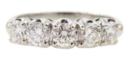 American white gold five stone diamond ring