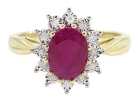 9ct gold oval ruby and diamond ring
