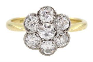 18ct gold diamond flower cluster ring