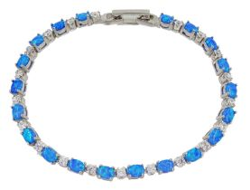 Silver opal and cubic zirconia bracelet
