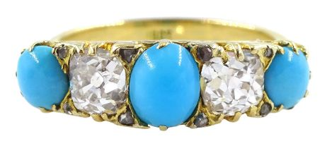 Gold five stone old cut diamond and cabochon turquoise ring